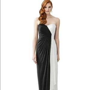Dessy black and white bridesmaid dress